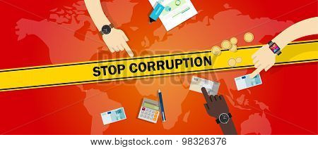 stop corruption bribe corrupt hands offering money cash