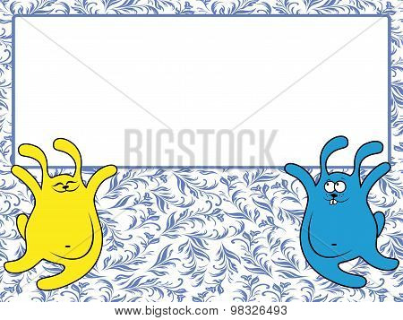 Two Rabbits Holding A Big Banner