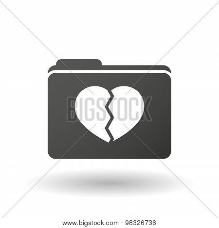 Isolated Folder Icon With A Broken Heart