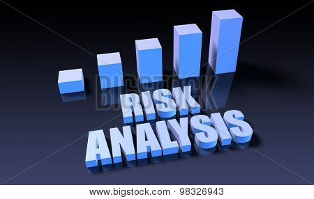 Risk analysis graph chart in 3d on blue and black