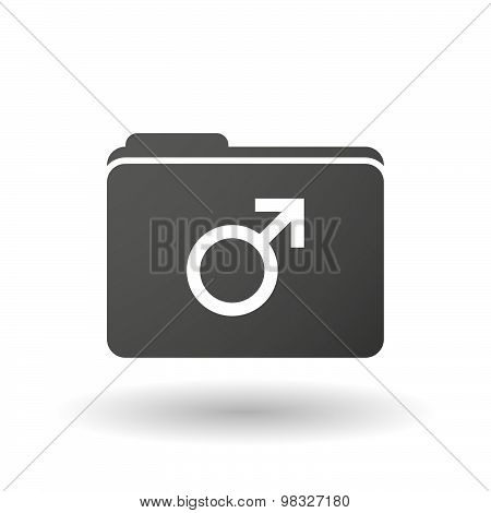 Isolated Folder Icon With A Male Sign