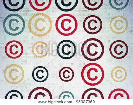 Law concept: Copyright icons on Digital Paper background
