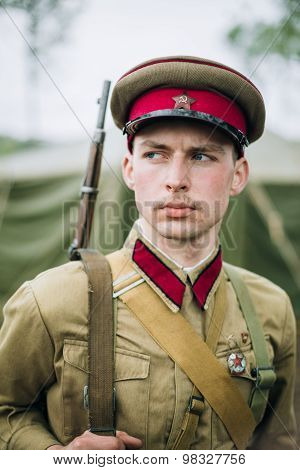 Unidentified re-enactor dressed as Soviet officer during events