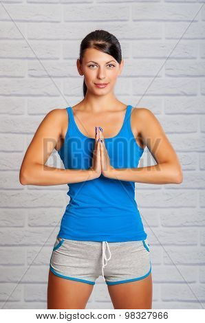 The girl is engaged in yoga