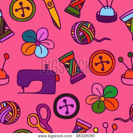 Cartoon Hand Drawn Seamless Pattern With Sewing And Tailoring Elements