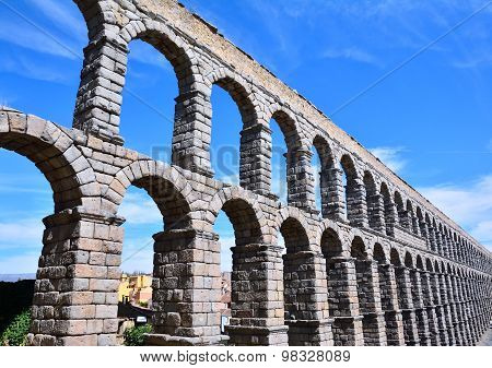 The Famous Ancient Aqueduct In Segovia.