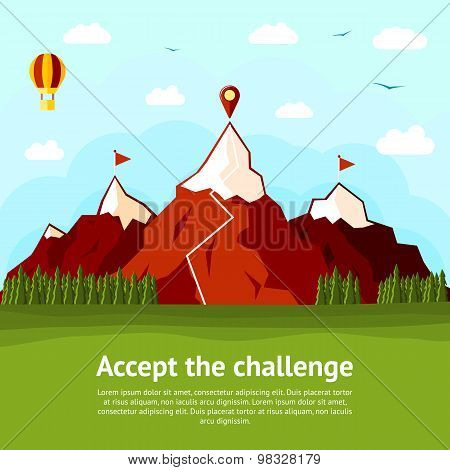 Accept the challenge concept card with high mountains, two explored and one unexplored. Vector