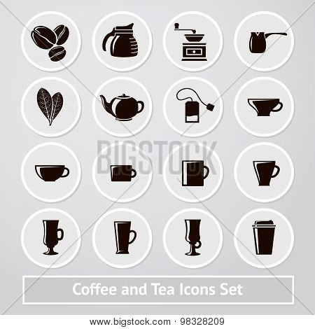 Vector set of coffee and tea icons, for shops, cafe, infographics, instructions, receipts, packages