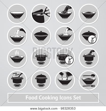 Vector set of cooking icons, for instructions, receipts, packages etc.