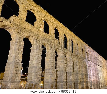 Night View Of Aqueduct Of Segovia, Spain.