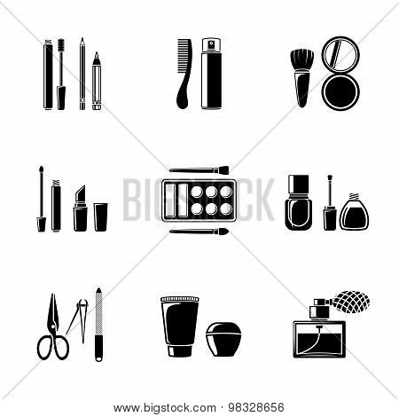 Set of monocrome makeup icons - mascara, polish, powders, lipsticks, perfume, lotions, comb, nail cl