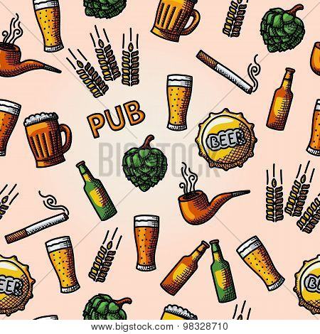 Seamless pub - beer handdrawn pattern. Vector