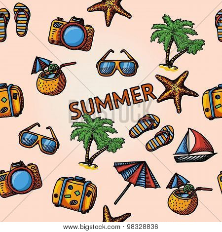 Seamless summer handdrawn pattern with - coconut cocktail, fish star, slippers, palms, suitcase,beac