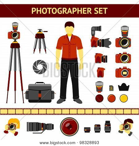 Set of Photographer icons - cameras, tripod, lenses, filters, photographer silhouettes. Vector