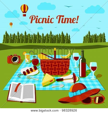 Picnic time poster with different food and drink on the cloth, countryside view. Vector
