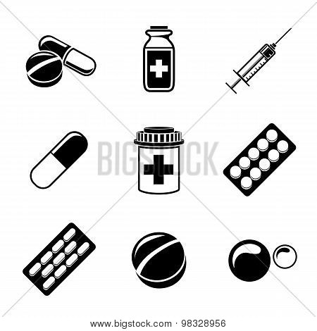Medicine, drugs monochrome icons set with - pills box, tablets, pill, blister, vitamins, syringe, li