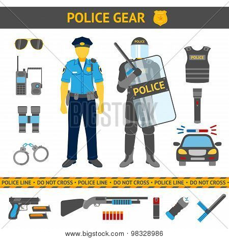 Set of Police icons - gear, car, weapons, two policemen in daily uniform and riot gear. Vector