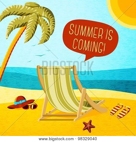 Cute summer poster - beach chair, palm, hat and sunglasses with speech bubble for your text. Vector