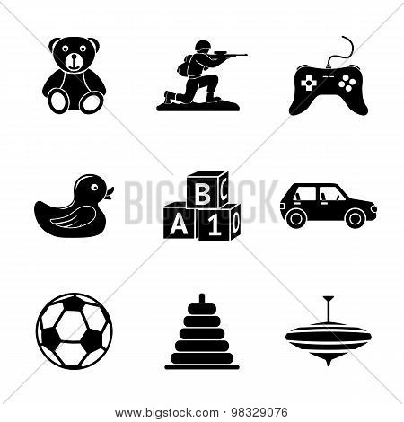 Toys icons set with - car, duck, bear, pyramid, ball, game controller, blocks, whirligig, soldier. V
