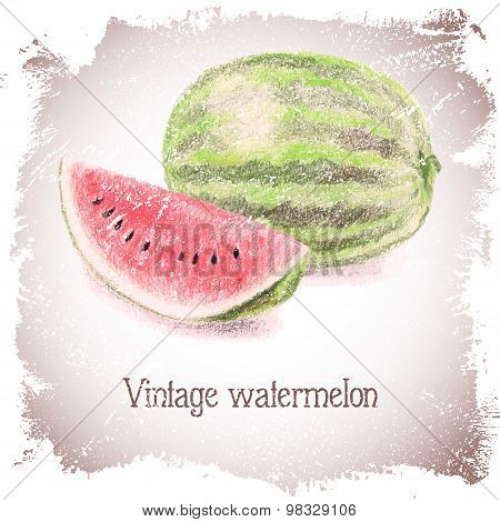Vintage card with watermelon.