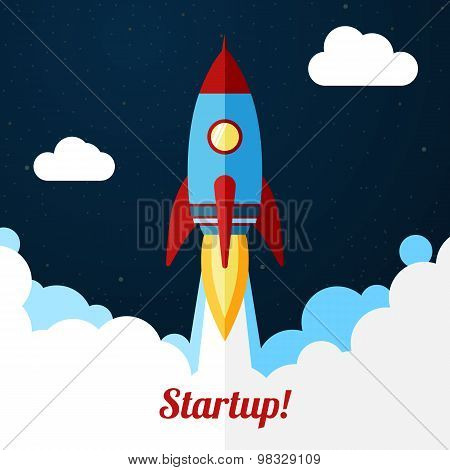 Vector. Space rocket launch. Concept for startups, releases etc.