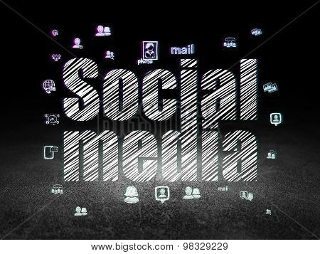 Social media concept: Social Media in grunge dark room