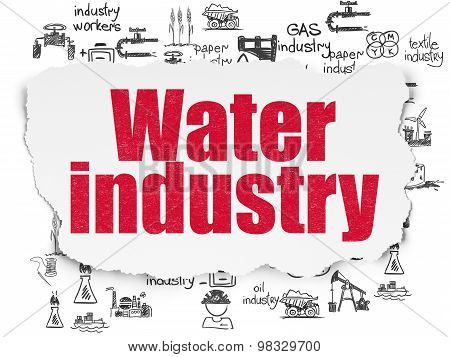 Manufacuring concept: Water Industry on Torn Paper background