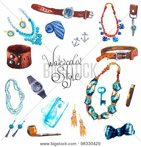 watercolor illustration Set Accessories