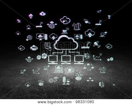 Cloud networking concept: Cloud Network in grunge dark room