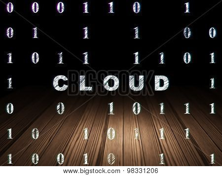 Cloud computing concept: Cloud in grunge dark room
