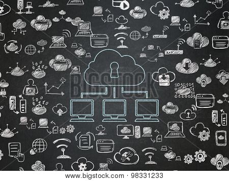 Cloud computing concept: Cloud Network on School Board