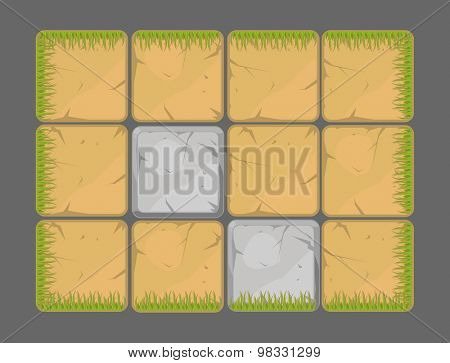 Vector natural background design elements, earth, grass, stone