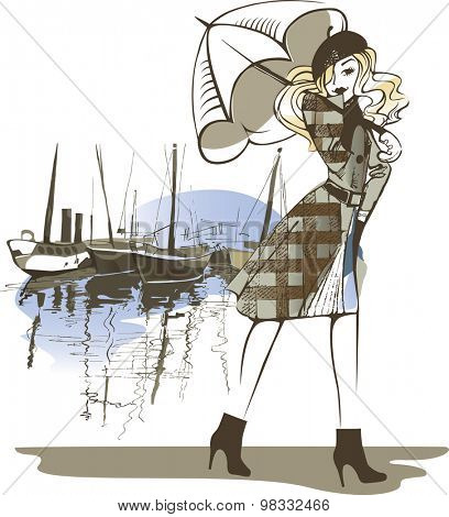painted figure of a girl with an umbrella on background boats