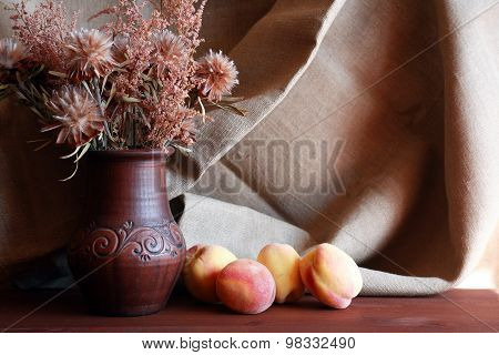 Flowers And Peach
