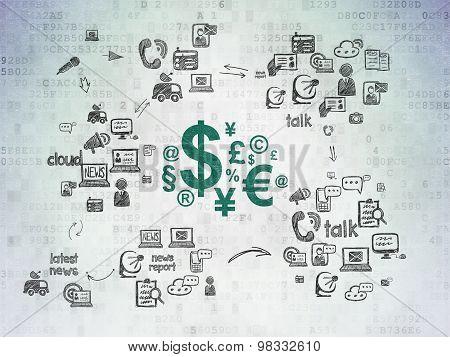 News concept: Finance Symbol on Digital Paper background