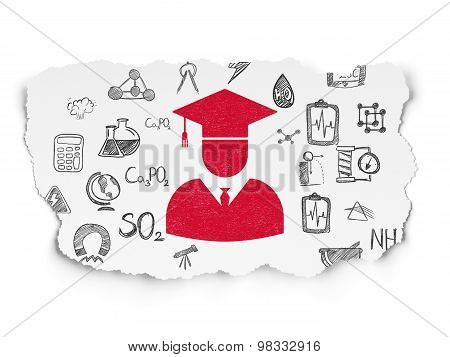 Science concept: Student on Torn Paper background