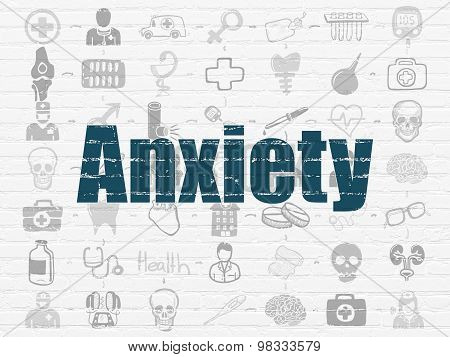 Healthcare concept: Anxiety on wall background