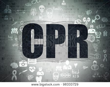 Medicine concept: CPR on Digital Paper background