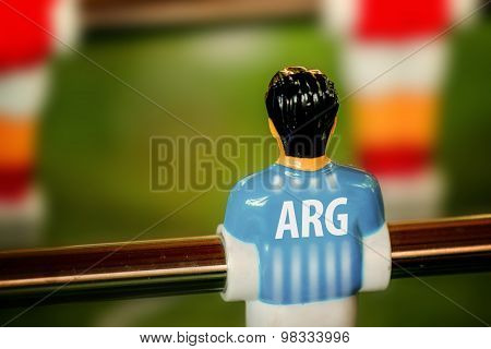 Argentina National Jersey On Vintage Foosball, Table Soccer Game
