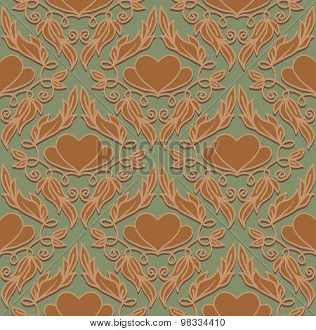 Retro Seamless Pattern With Decorative Hearts