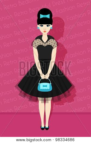 Pretty Retro Girl In Flat Style