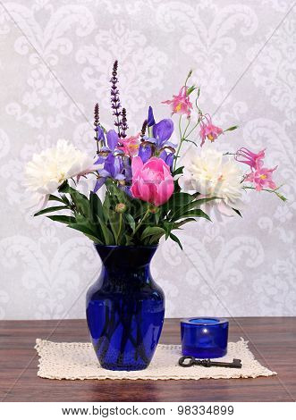 Beautiful Spring Flowers In A Vase.