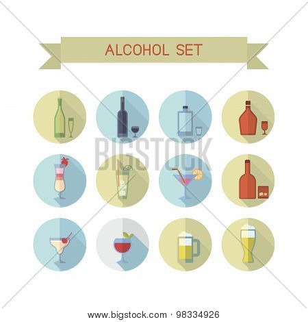 Flat alcohol icons