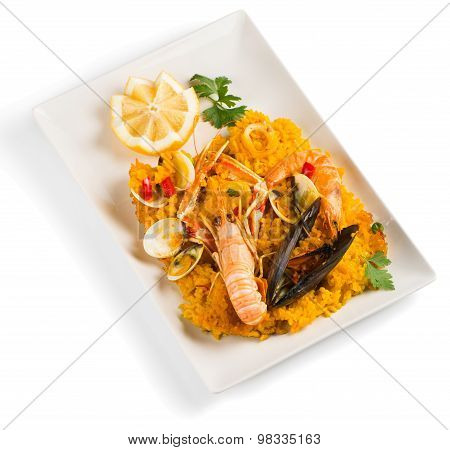 Paella On A Plate.