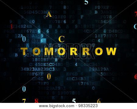 Time concept: Tomorrow on Digital background