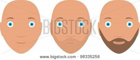 Icon set of three man head in stages beard growth