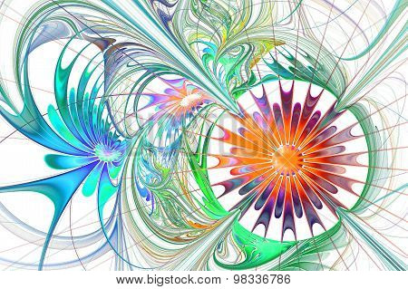 Flower Background. Blue And Orange Palette. Fractal Design.