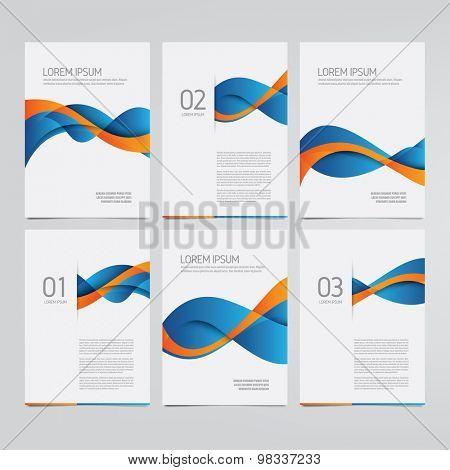 Vector brochure, annual report, flyer, magazine templates. Set of blue and orange wave designs.