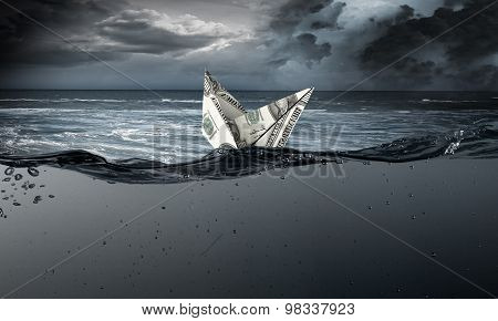 Dollar ship in water