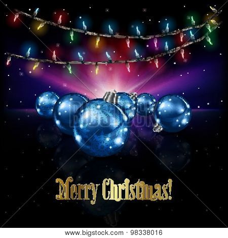 Abstract Celebration Background With Christmas Decorations And Stars